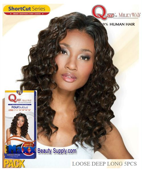 MilkyWay Que Human Hair Weave Short Cut Series - Loose Deep Long 5pcs